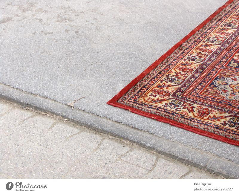 Homeless Deserted Places Carpet persian carpet Lie Living or residing Exceptional Sharp-edged Uniqueness Gray Red Emotions Moody Hope Concern Homesickness