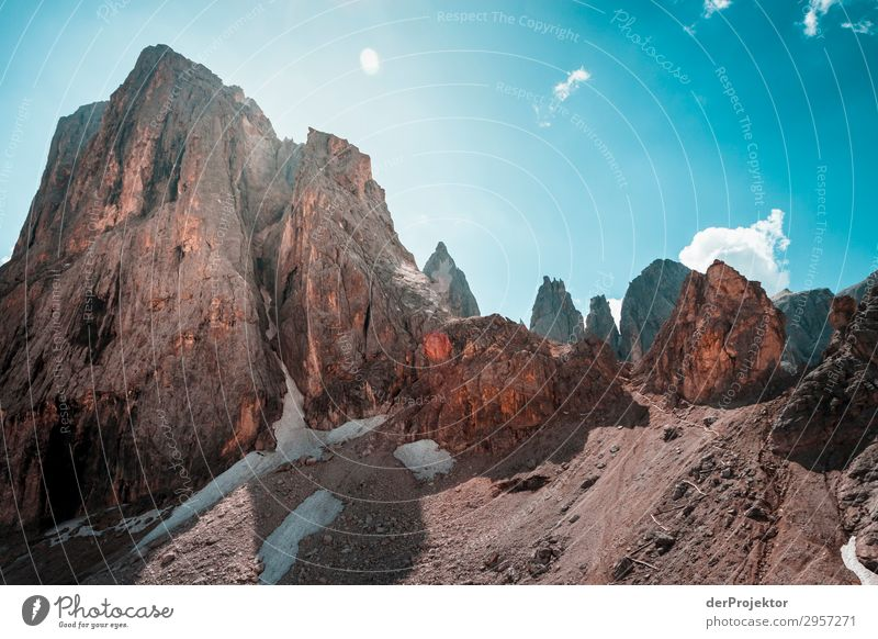 Dolomites with rocks in foreground VI Adventure Hiking Beautiful weather Bad weather Fog Peak Summer Landscape Nature Environment Far-off places Freedom