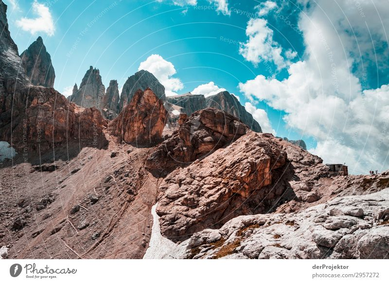Dolomites with rocks in the foreground VIII Adventure Hiking Beautiful weather Bad weather Fog Peak Summer Landscape Nature Environment Far-off places Freedom