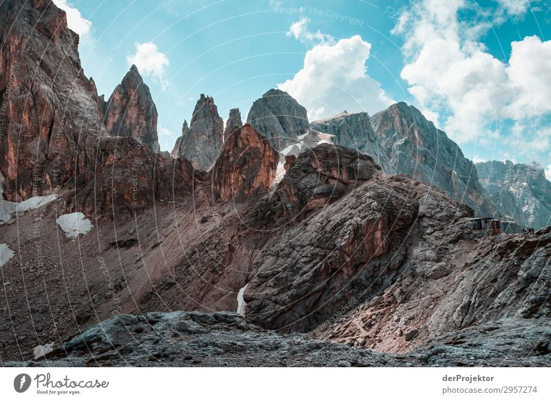 Dolomites with rocks in foreground IX Adventure Hiking Beautiful weather Bad weather Fog Peak Summer Landscape Nature Environment Far-off places Freedom