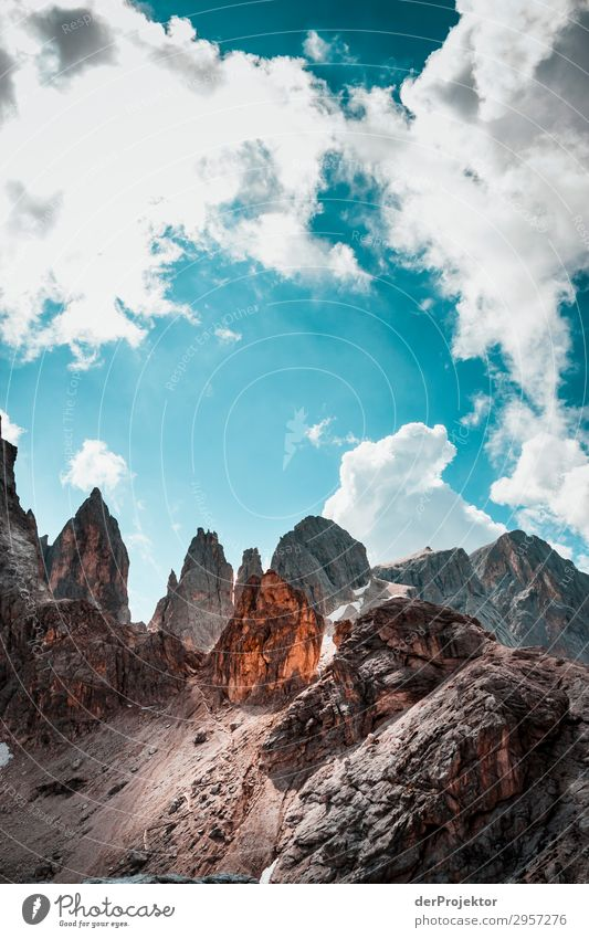 Dolomites with rocks in the foreground X Adventure Hiking Beautiful weather Bad weather Fog Peak Summer Landscape Nature Environment Far-off places Freedom