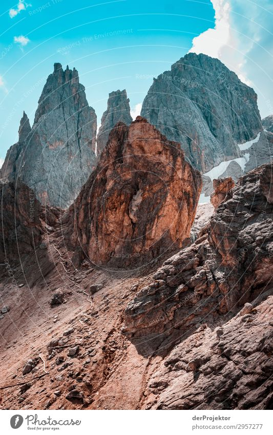 Dolomites with rocks in the foreground XI Adventure Hiking Beautiful weather Bad weather Fog Peak Summer Landscape Nature Environment Far-off places Freedom