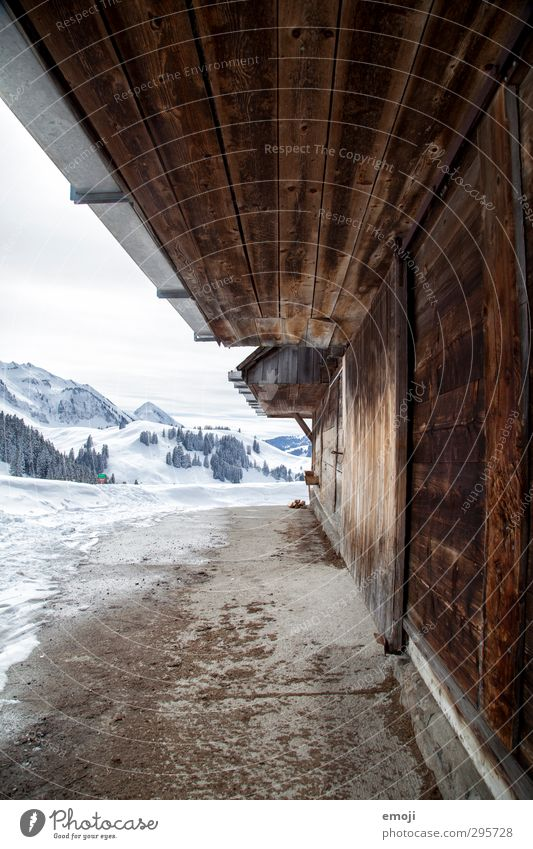 on the alp Environment Nature Winter Snow Alps Mountain Simple Natural Alpine Barn Colour photo Exterior shot Deserted Day Wide angle