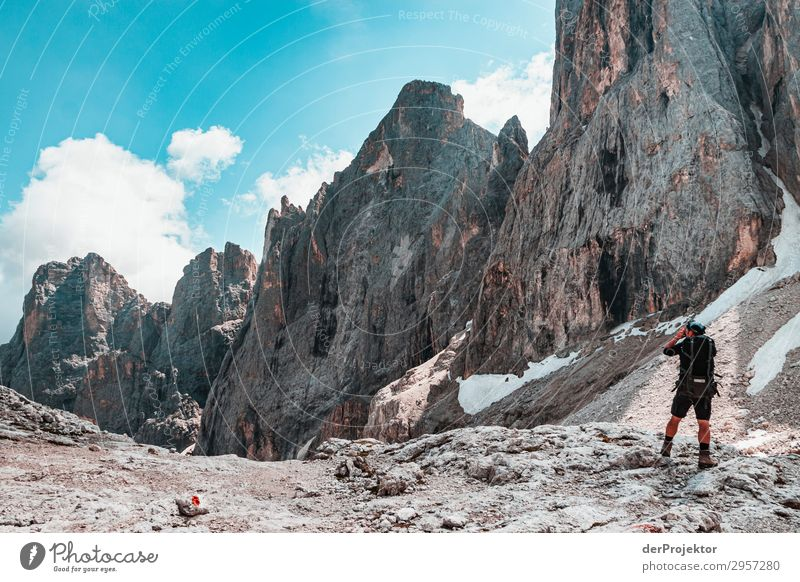 Dolomites with hiker in the foreground Adventure Hiking Beautiful weather Bad weather Fog Peak Summer Landscape Nature Environment Far-off places Freedom