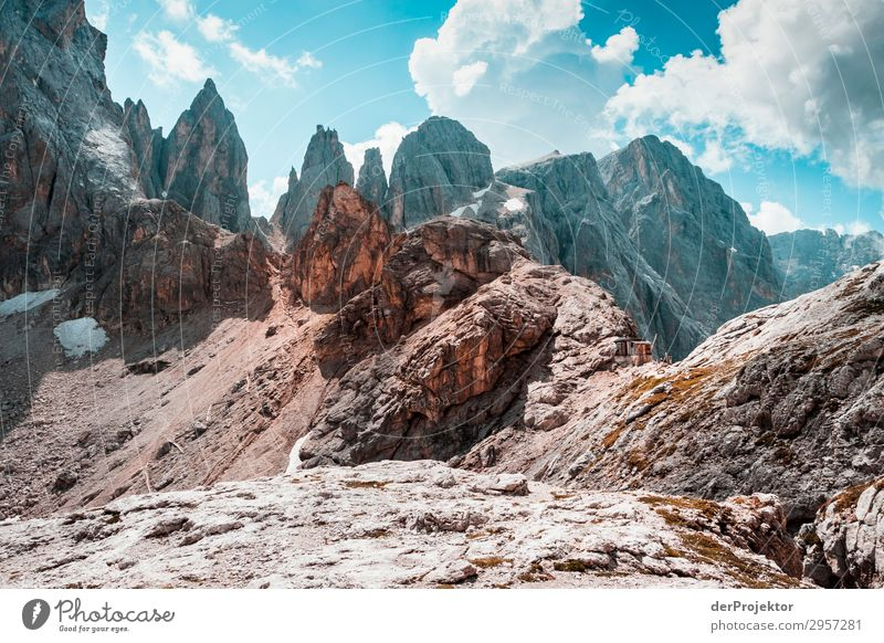 Dolomites with rocks in foreground IV Adventure Hiking Beautiful weather Bad weather Fog Peak Summer Landscape Nature Environment Far-off places Freedom