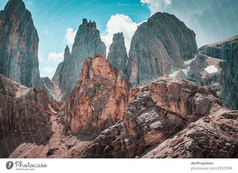 Dolomites with rocks in the foreground VII Adventure Hiking Beautiful weather Bad weather Fog Peak Summer Landscape Nature Environment Far-off places Freedom