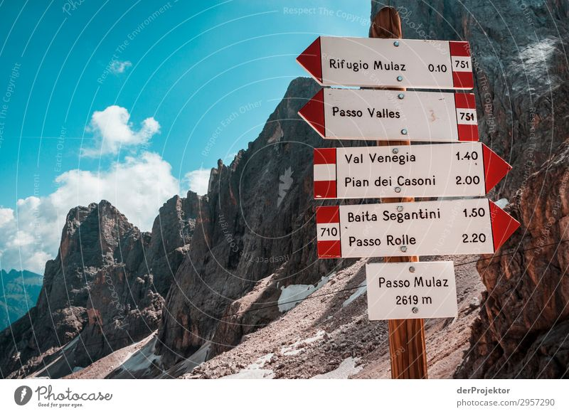 Signs at Passo Mulaz Adventure Hiking Beautiful weather Bad weather Fog Peak Summer Landscape Nature Environment Far-off places Freedom Mountain