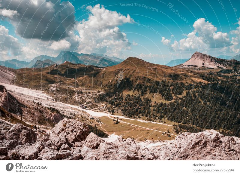 Dolomites with rocks in the foreground Adventure Hiking Beautiful weather Bad weather Fog Peak Summer Landscape Nature Environment Far-off places Freedom