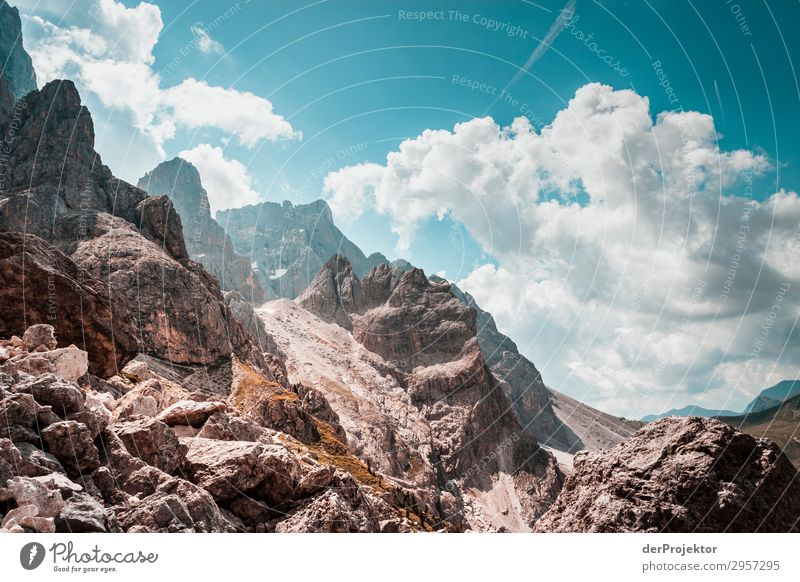 Dolomites with rocks in foreground II Adventure Hiking Beautiful weather Bad weather Fog Peak Summer Landscape Nature Environment Far-off places Freedom
