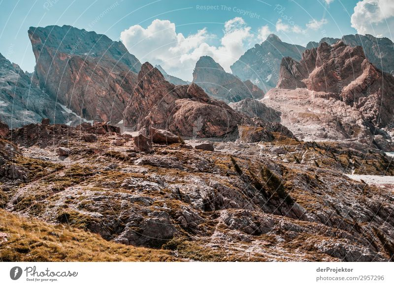 Dolomites with rocks in foreground III Adventure Hiking Beautiful weather Bad weather Fog Peak Summer Landscape Nature Environment Far-off places Freedom