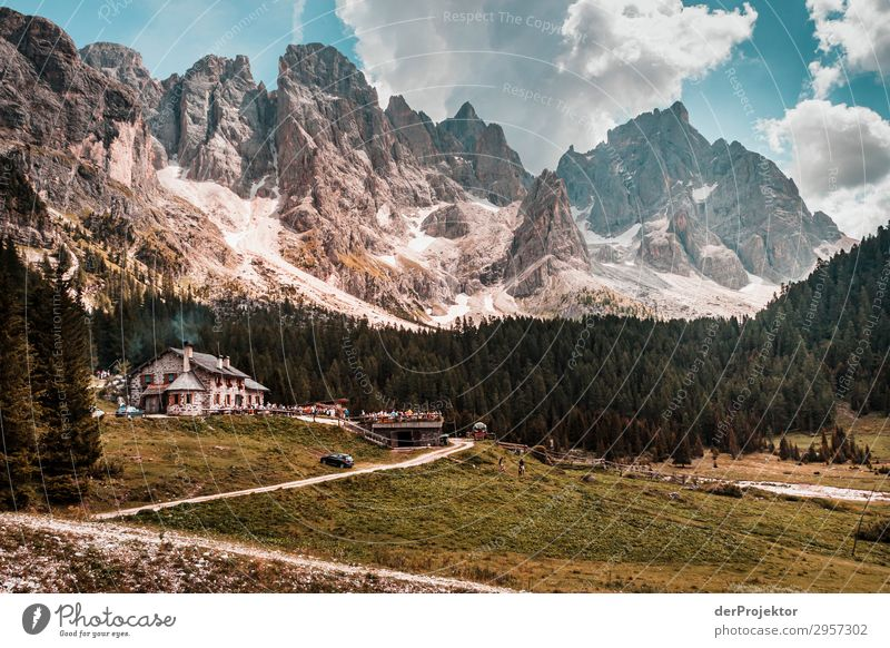 Dolomites with inn in the foreground Adventure Hiking Beautiful weather Bad weather Fog Peak Summer Landscape Nature Environment Far-off places Freedom Mountain
