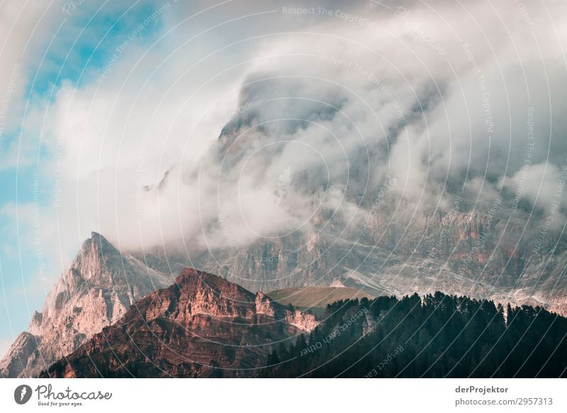 Dolomites in the clouds I Adventure Hiking Beautiful weather Bad weather Fog Peak Summer Landscape Nature Environment Far-off places Freedom Mountain