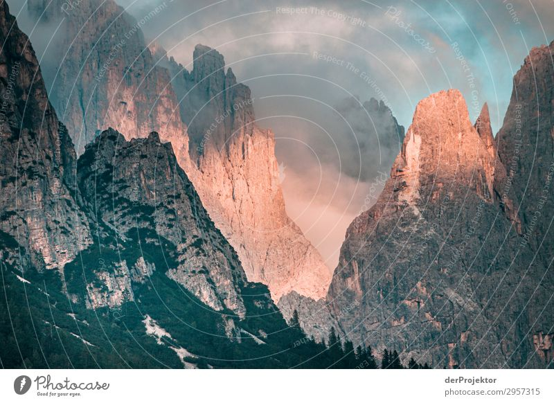 Dolomites in the clouds with sun II Adventure Hiking Beautiful weather Bad weather Fog Peak Summer Landscape Nature Environment Far-off places Freedom Mountain