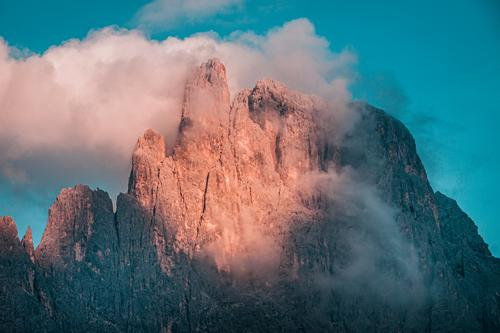 sunrise in the dolomites Vacation & Travel Tourism Adventure Far-off places Hiking Environment Nature Landscape Plant Animal Summer Beautiful weather Fog Alps