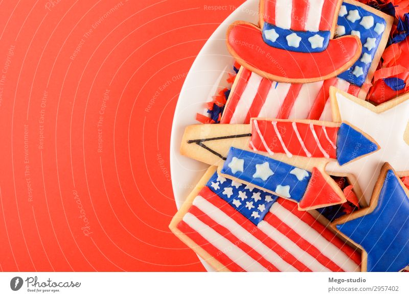 Patriotic cookies for 4th of July. Dessert Plate Decoration Feasts & Celebrations Culture Monument Stripe Flag Blue Red White Colour Independence Tradition