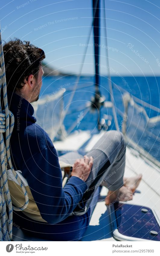 #S# chill on deck Aquatics Human being Masculine Young man Youth (Young adults) Athletic Happy Break Vacation & Travel Sailing yacht Sailing trip