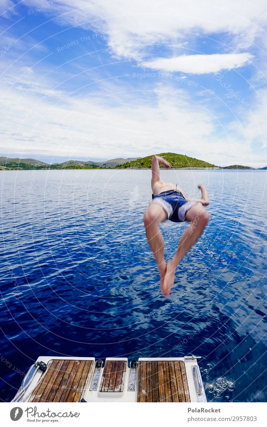 #S# Jump into the blue Leisure and hobbies Masculine 1 Human being Athletic Sailboat Water Blue Ocean Island Refrigeration Vacation & Travel Vacation mood