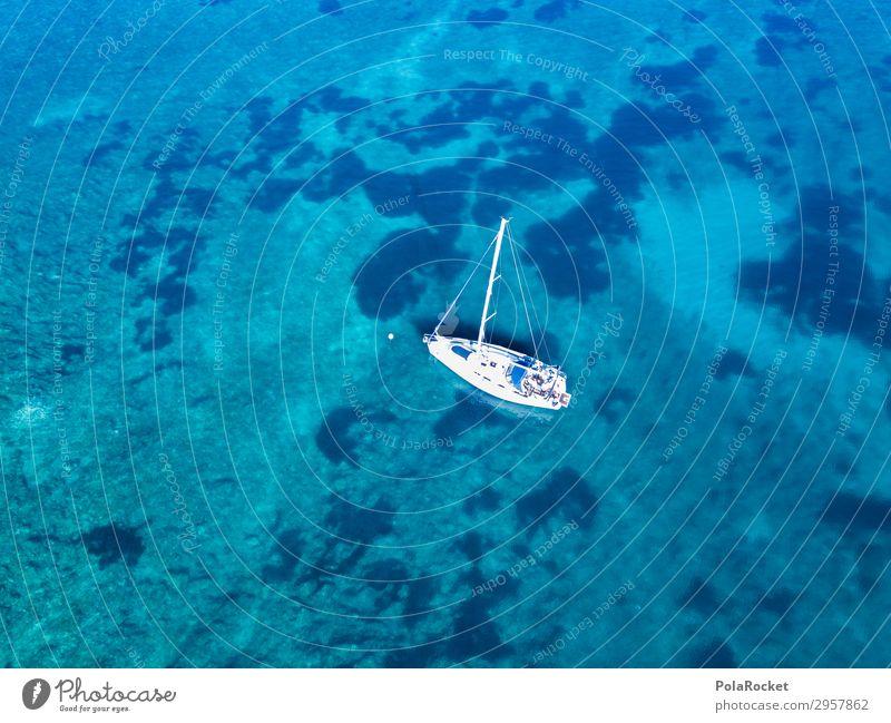 #S# Boat kisses sea Nature Landscape Tall Ocean Bottom of the sea Sailing Sailboat Sailing ship Sailing trip Sailing vacation Drop anchor Uniqueness Loneliness