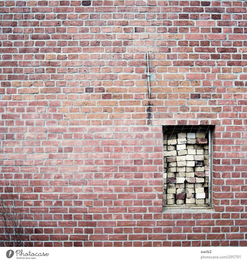 For bad times Wall (barrier) Wall (building) Facade Window Construction site Problem solving Stone Simple Firm Many Determination Safety Protection Watchfulness