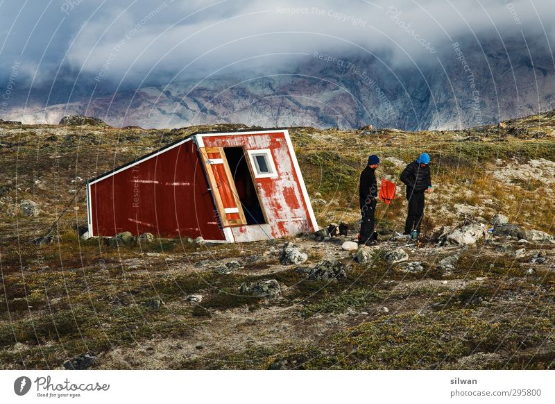 Green(hat #II)land 2 Human being Nature Autumn Bad weather Fog Moss Rock Glacier Hut Building Advice To talk Relaxation Stand Exotic Infinity Cold Gray Red