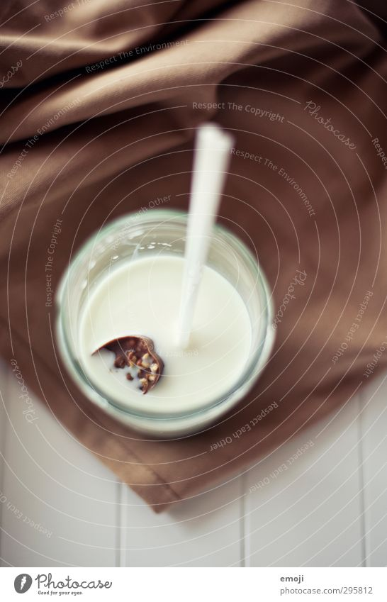 chocolate ice cubes Chocolate Nutrition Breakfast Beverage Milk Glass Straw Delicious Sweet Colour photo Interior shot Deserted Day Shallow depth of field