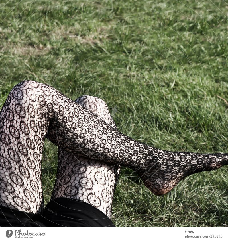 ready for springtime Feminine Legs 1 Human being Meadow Clothing Tights Sit Thin Beautiful Crazy Spring fever Patient Relaxation Serene Break Restful Crossed