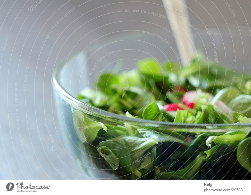 green salad with radishes in a glass bowl Food Lettuce Salad Lamb's lettuce Radish Nutrition Lunch Organic produce Vegetarian diet Diet Bowl Spoon Glass Eating
