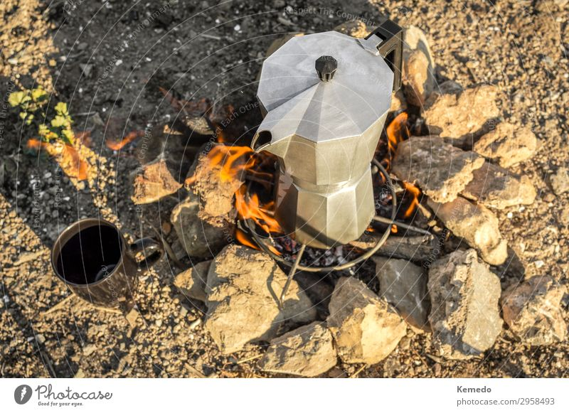 Preparing coffee with bonfire during a camp in nature. Vacation & Travel Nature Summer Landscape Sun Relaxation Forest Mountain Food Lifestyle Environment