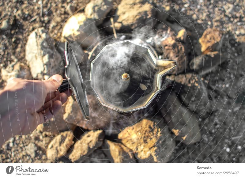 Preparing coffee with bonfire during a camp in nature. Human being Vacation & Travel Nature Youth (Young adults) Old Summer Hand Relaxation Calm Joy Forest