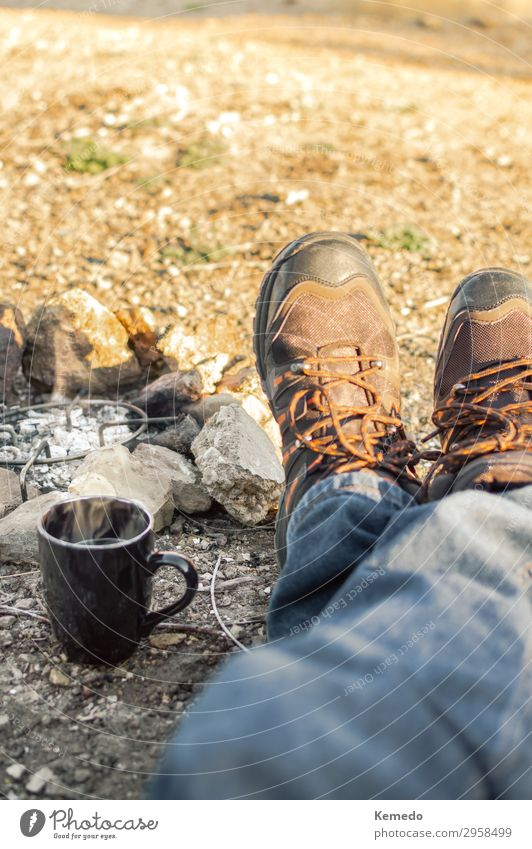 Preparing coffee with bonfire, resting during a camp in nature. Human being Vacation & Travel Nature Youth (Young adults) Man Old Summer Landscape Sun