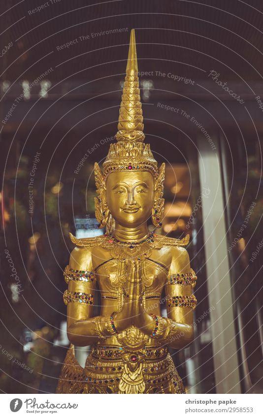 Golden Buddha Statue Sculpture Thailand Metal Exotic Glittering Historic Attentive Caution Serene Religion and faith Buddhism Statue of Buddha Prayer Asia