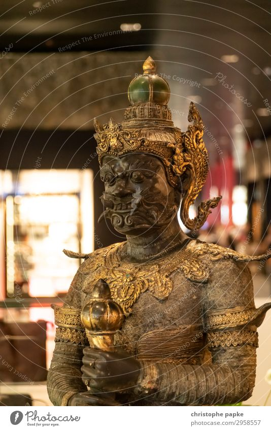 Statue of the Thai Yaksha - the guard Vacation & Travel Far-off places Art Sculpture Metal Gold Old Threat Exotic Fantastic Historic Brave Belief