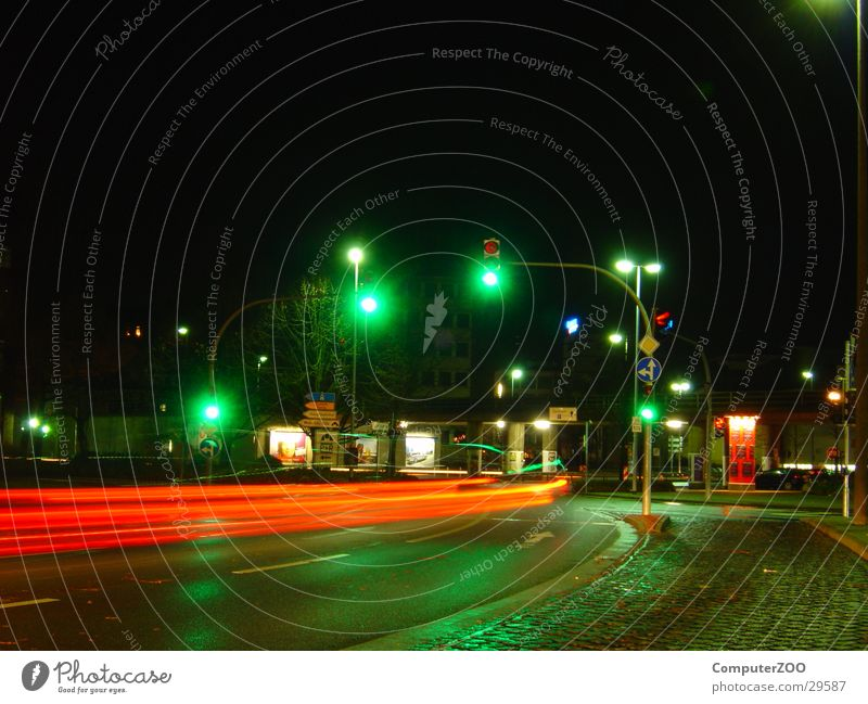Oldenburg horse market Night Long exposure Traffic light Speed Transport wet road