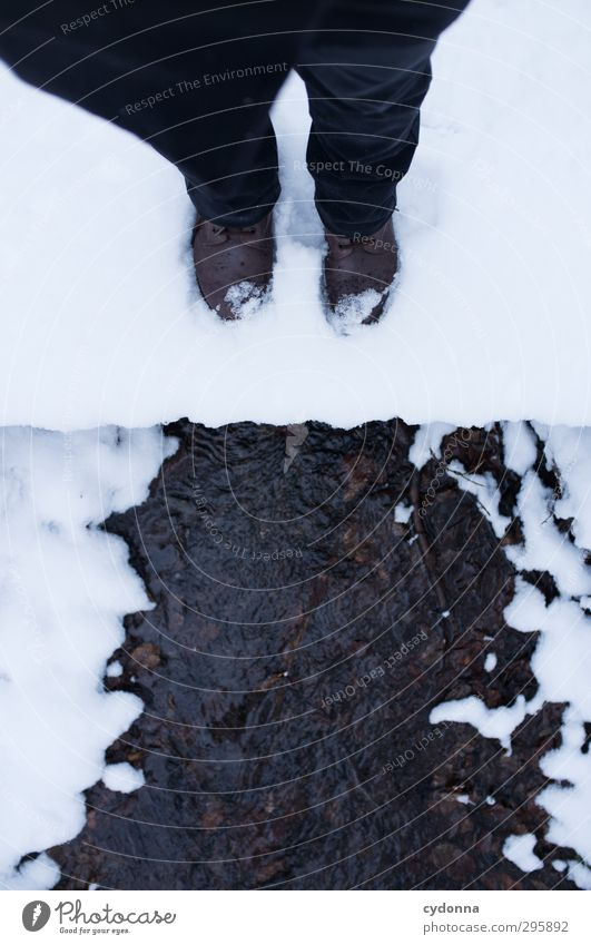 winter goodbye Well-being Relaxation Calm Trip Hiking Human being Legs Feet Environment Nature Water Winter Ice Frost Snow Brook Footwear Esthetic Movement