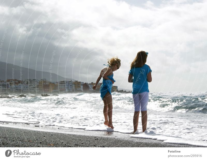 My rocks in the surf! Human being Feminine Child Girl Brothers and sisters Sister Infancy Life Hair and hairstyles Back Arm Legs Feet 2 Elements Water Sky