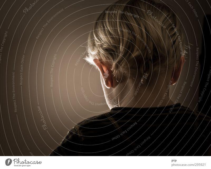 Human being Child Calm Dark Boy (child) Hair and hairstyles Head Brown Infancy Masculine Blonde Meditative Back Simple Ear Shoulder