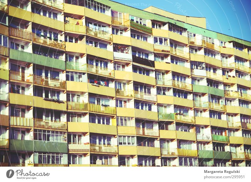 balcony Freedom Flat (apartment) House (Residential Structure) Dream house Moving (to change residence) Sky Populated High-rise Facade Balcony Trashy Blue