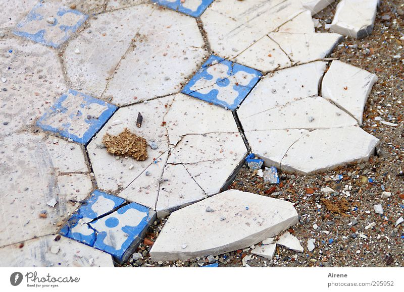 complicated fracture Profession Craftsperson tile layers House (Residential Structure) Ruin Ground Floor covering tiled floor Tile Stone Sand Sign Network Old