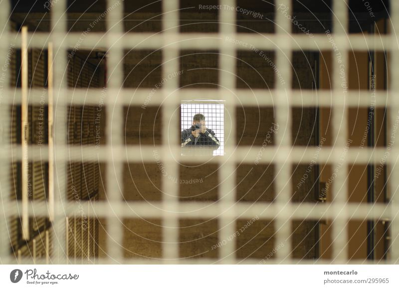 Behind bars! Episode [200] Human being Masculine Man Adults 1 Mirror Wood Metal Authentic Simple Natural Original Symmetry Colour photo Multicoloured