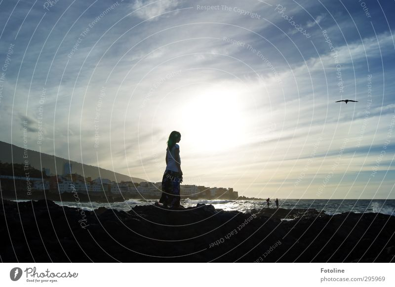 Youth photo | Holidays by the sea Human being Girl 1 8 - 13 years Child Infancy Environment Nature Elements Water Sky Clouds Horizon Summer Waves Coast Beach