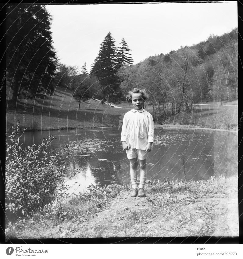 Youth photo | Interruption of the game 1 Human being Environment Landscape Summer Beautiful weather Tree Park Meadow Pond Hair and hairstyles Observe Looking