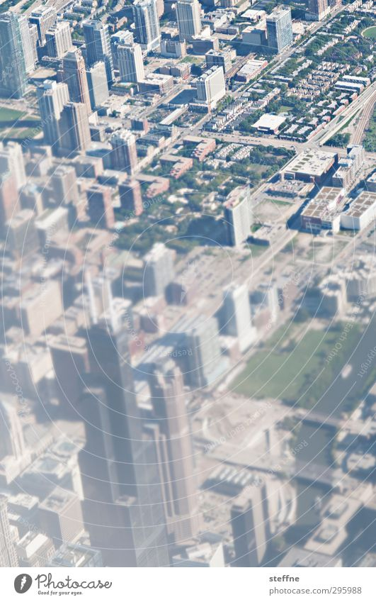 down.town Chicago USA Town Skyline House (Residential Structure) High-rise Downtown Sears Tower willis tower View from the airplane Colour photo Experimental