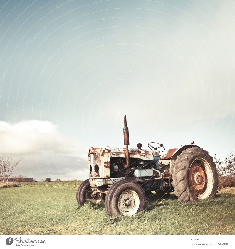 Land Rover Agriculture Forestry Machinery Environment Nature Sky Clouds Beautiful weather Meadow Vehicle Tractor Vintage car Rust Old Dirty Bright Broken