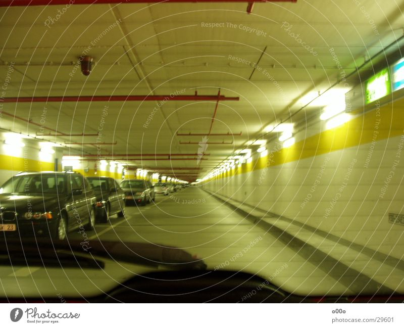 Underground car park without end Underground garage Parking garage Tunnel Infinity Windscreen wiper Lamp Architecture Car