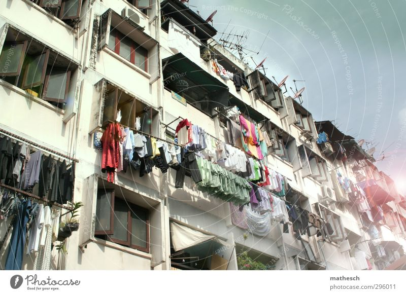 Asia Living or residing Flat (apartment) House (Residential Structure) Balcony Window Clothing Warmth Blue Multicoloured White Washing Dry Hang Clothesline
