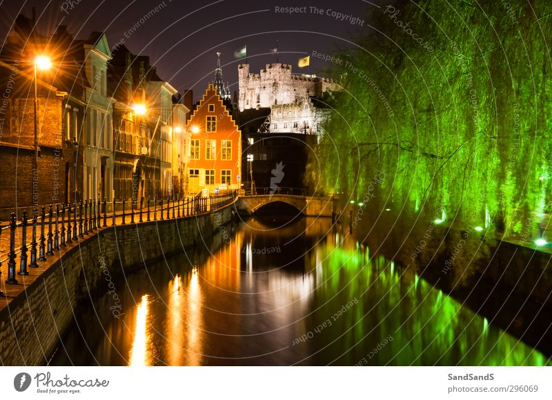 Ghent by night House (Residential Structure) River Small Town Church Bridge Street Green Colour Belgium Europe Gravensteen Lievekaai Belgian centre cultural