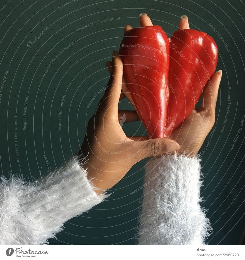 heart of nature | sure instinct Food Vegetable Pepper Nutrition Vegetarian diet Finger food Feminine Arm Hand Fingers 1 Human being Agricultural crop Sweater