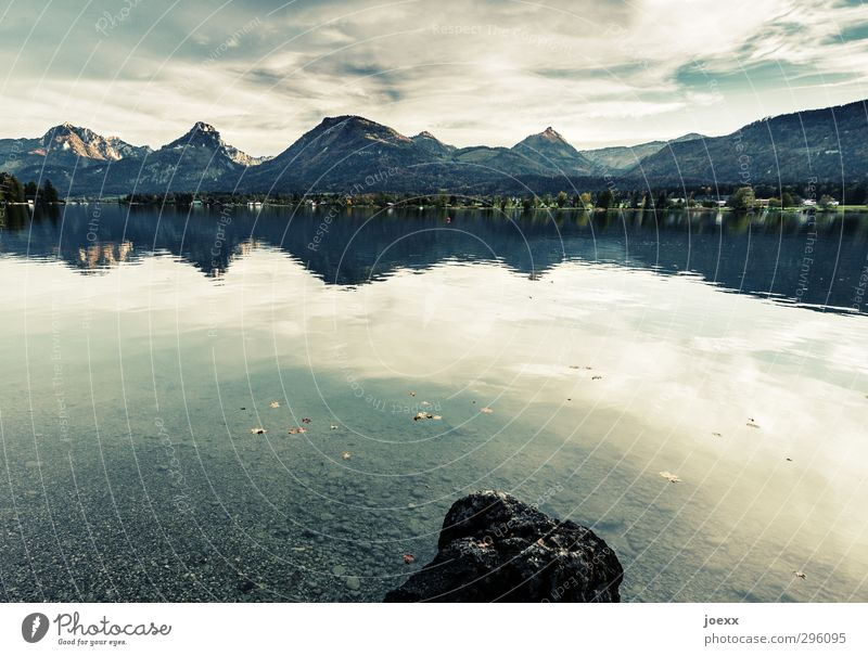 Abersee Mountain Landscape Water Sky Clouds Summer Beautiful weather Alps Lakeside Lake Wolfgang Austria Stone Tall Blue Gray Green Black White Serene Calm
