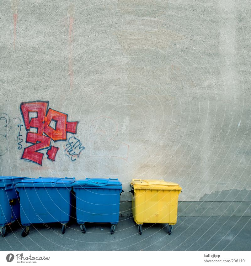subculture Stone Sign Characters Graffiti Sustainability Trash Trash container Yellow Blue Multicoloured Waste utilization Recycling Container Backyard