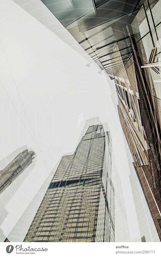 broken glass | cubism Chicago USA Town Downtown Skyline High-rise Facade Double exposure Cubism Subdued colour Wide angle